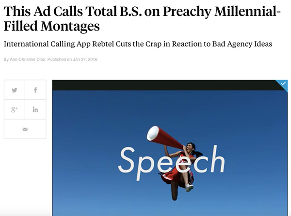 Creativity Online: This Ad Calls Total B.S. on Preachy Millennial-Filled Montages