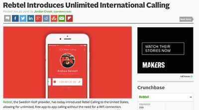 TechCrunch: Rebtel Introduces Unlimited International Calling