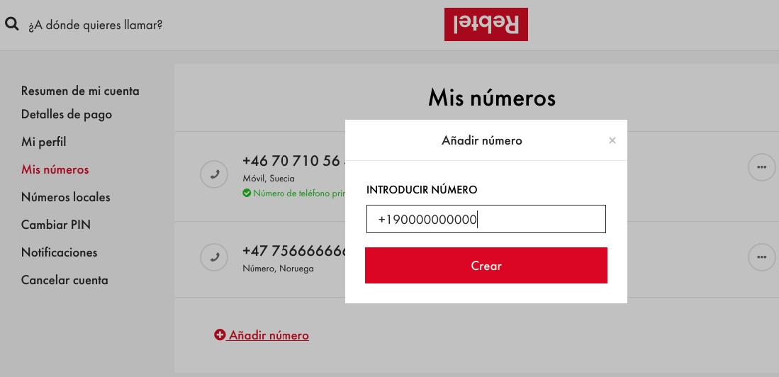 agregar hasta 5 números de teléfono diferentes en la misma cuenta